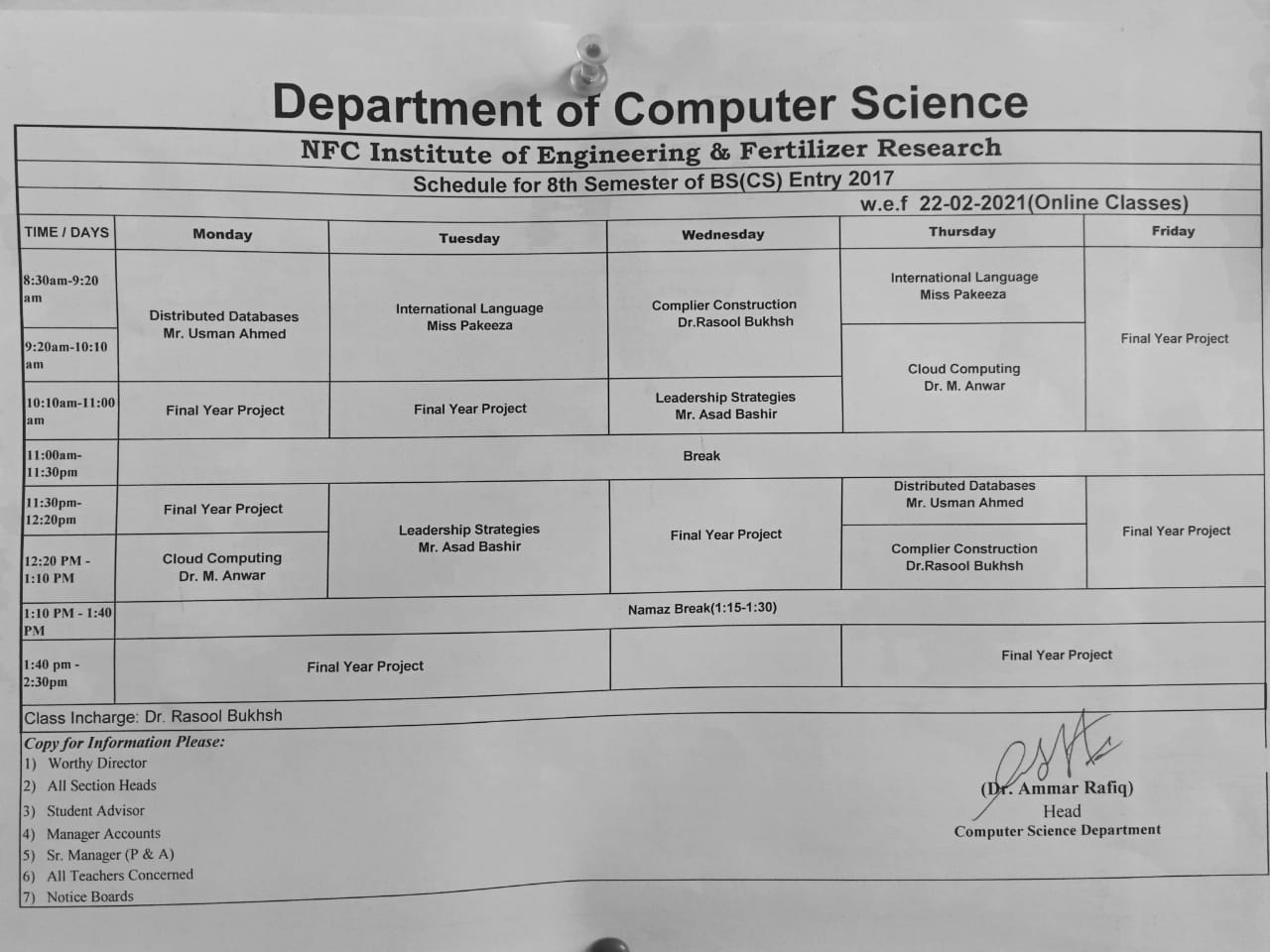Timetable of 2nd Semester